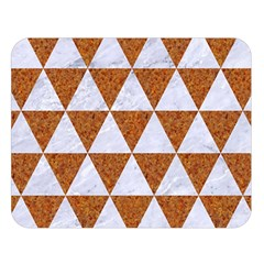 Triangle3 White Marble & Rusted Metal Double Sided Flano Blanket (large)