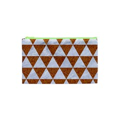 Triangle3 White Marble & Rusted Metal Cosmetic Bag (xs)
