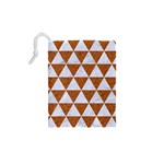 TRIANGLE3 WHITE MARBLE & RUSTED METAL Drawstring Pouches (XS)  Back