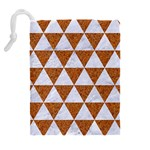 TRIANGLE3 WHITE MARBLE & RUSTED METAL Drawstring Pouches (Extra Large) Back