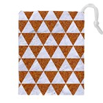 TRIANGLE3 WHITE MARBLE & RUSTED METAL Drawstring Pouches (XXL) Front