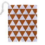 TRIANGLE3 WHITE MARBLE & RUSTED METAL Drawstring Pouches (XXL) Back