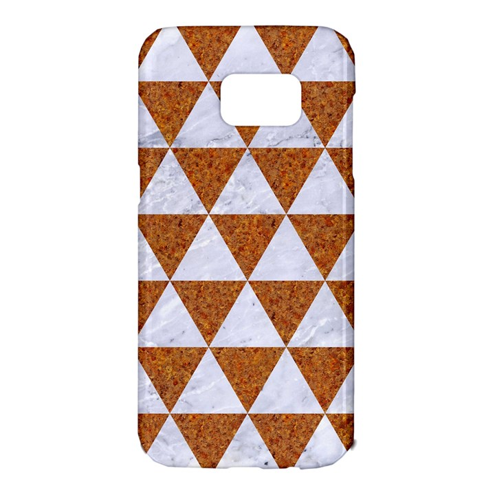 TRIANGLE3 WHITE MARBLE & RUSTED METAL Samsung Galaxy S7 Edge Hardshell Case