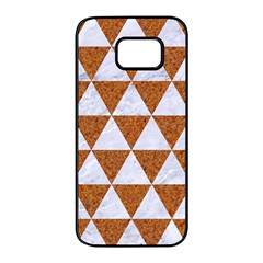 Triangle3 White Marble & Rusted Metal Samsung Galaxy S7 Edge Black Seamless Case