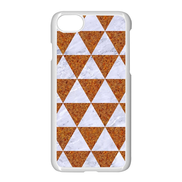 TRIANGLE3 WHITE MARBLE & RUSTED METAL Apple iPhone 8 Seamless Case (White)