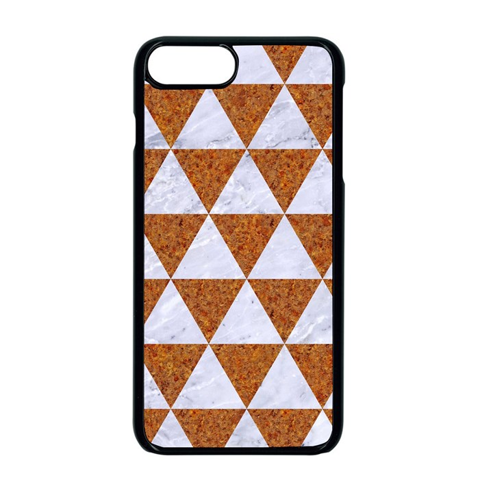 TRIANGLE3 WHITE MARBLE & RUSTED METAL Apple iPhone 8 Plus Seamless Case (Black)