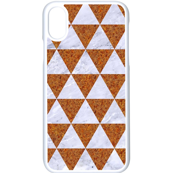 TRIANGLE3 WHITE MARBLE & RUSTED METAL Apple iPhone X Seamless Case (White)
