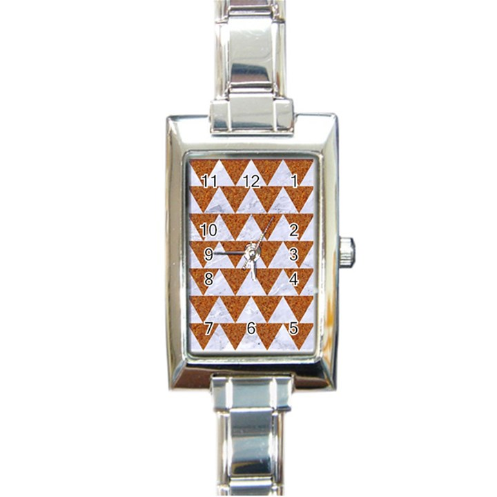 TRIANGLE2 WHITE MARBLE & RUSTED METAL Rectangle Italian Charm Watch