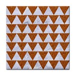 TRIANGLE2 WHITE MARBLE & RUSTED METAL Tile Coasters Front