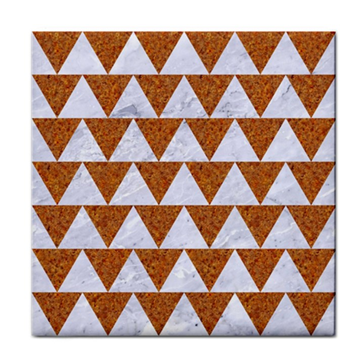 TRIANGLE2 WHITE MARBLE & RUSTED METAL Tile Coasters
