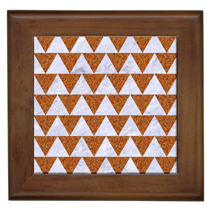 TRIANGLE2 WHITE MARBLE & RUSTED METAL Framed Tiles