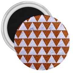 Triangle2 White Marble & Rusted Metal 3  Magnets