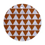 TRIANGLE2 WHITE MARBLE & RUSTED METAL Ornament (Round) Front