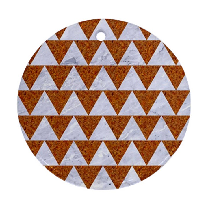 TRIANGLE2 WHITE MARBLE & RUSTED METAL Ornament (Round)