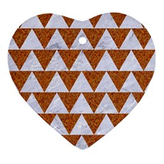 Triangle2 White Marble & Rusted Metal Ornament (heart)