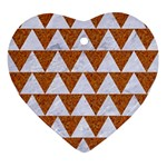 TRIANGLE2 WHITE MARBLE & RUSTED METAL Ornament (Heart) Front