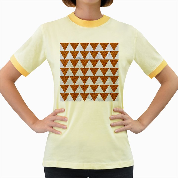 TRIANGLE2 WHITE MARBLE & RUSTED METAL Women s Fitted Ringer T-Shirts