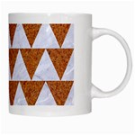 TRIANGLE2 WHITE MARBLE & RUSTED METAL White Mugs Right