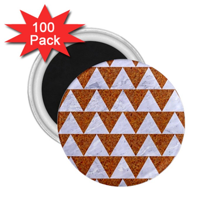 TRIANGLE2 WHITE MARBLE & RUSTED METAL 2.25  Magnets (100 pack)