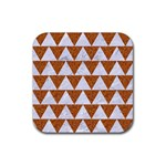 TRIANGLE2 WHITE MARBLE & RUSTED METAL Rubber Coaster (Square)  Front