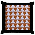 TRIANGLE2 WHITE MARBLE & RUSTED METAL Throw Pillow Case (Black) Front