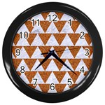 TRIANGLE2 WHITE MARBLE & RUSTED METAL Wall Clocks (Black) Front