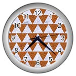 TRIANGLE2 WHITE MARBLE & RUSTED METAL Wall Clocks (Silver)  Front