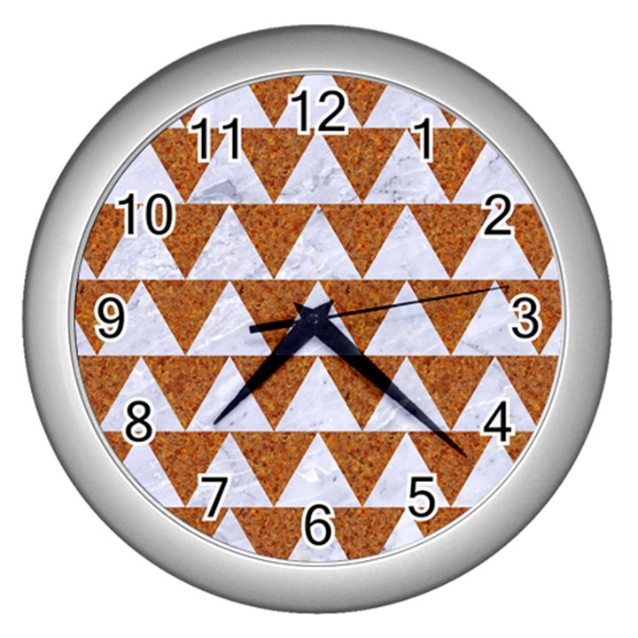 TRIANGLE2 WHITE MARBLE & RUSTED METAL Wall Clocks (Silver)