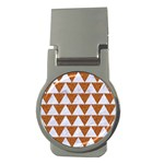 TRIANGLE2 WHITE MARBLE & RUSTED METAL Money Clips (Round)  Front