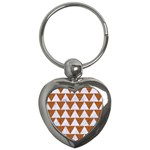 TRIANGLE2 WHITE MARBLE & RUSTED METAL Key Chains (Heart)  Front