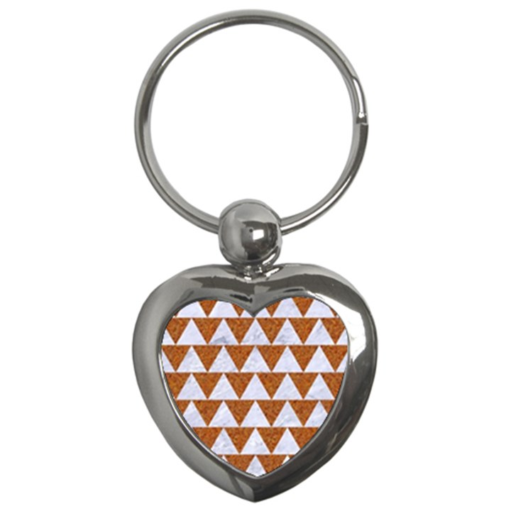 TRIANGLE2 WHITE MARBLE & RUSTED METAL Key Chains (Heart)