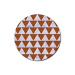 TRIANGLE2 WHITE MARBLE & RUSTED METAL Rubber Coaster (Round)  Front