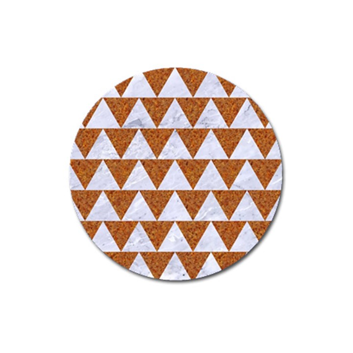 TRIANGLE2 WHITE MARBLE & RUSTED METAL Magnet 3  (Round)