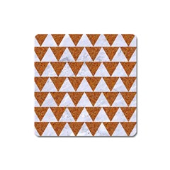 Triangle2 White Marble & Rusted Metal Square Magnet