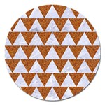 TRIANGLE2 WHITE MARBLE & RUSTED METAL Magnet 5  (Round) Front