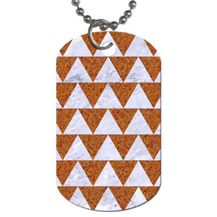 TRIANGLE2 WHITE MARBLE & RUSTED METAL Dog Tag (Two Sides)