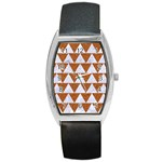 TRIANGLE2 WHITE MARBLE & RUSTED METAL Barrel Style Metal Watch Front