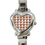 TRIANGLE2 WHITE MARBLE & RUSTED METAL Heart Italian Charm Watch Front