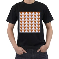Triangle2 White Marble & Rusted Metal Men s T Shirt (black) (two Sided)