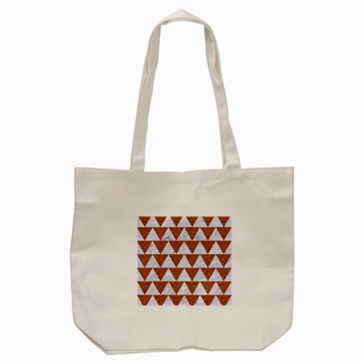 TRIANGLE2 WHITE MARBLE & RUSTED METAL Tote Bag (Cream)