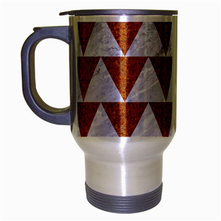 TRIANGLE2 WHITE MARBLE & RUSTED METAL Travel Mug (Silver Gray)