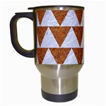 TRIANGLE2 WHITE MARBLE & RUSTED METAL Travel Mugs (White) Left