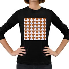 Triangle2 White Marble & Rusted Metal Women s Long Sleeve Dark T Shirts