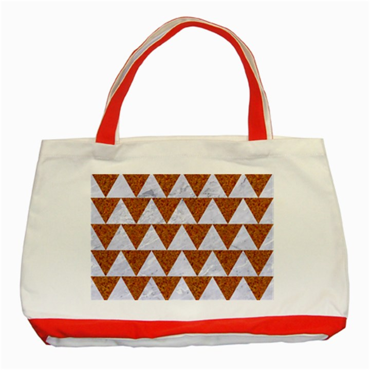 TRIANGLE2 WHITE MARBLE & RUSTED METAL Classic Tote Bag (Red)