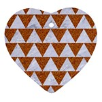 TRIANGLE2 WHITE MARBLE & RUSTED METAL Heart Ornament (Two Sides) Front