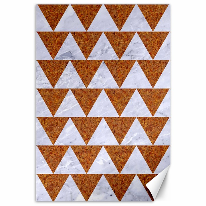 TRIANGLE2 WHITE MARBLE & RUSTED METAL Canvas 12  x 18