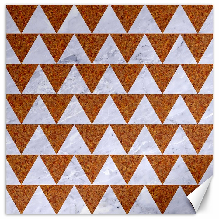 TRIANGLE2 WHITE MARBLE & RUSTED METAL Canvas 16  x 16