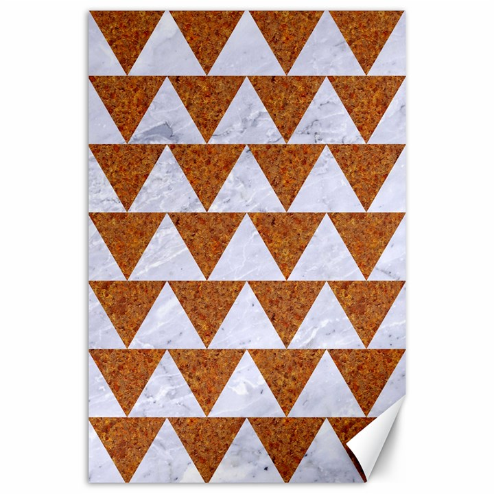 TRIANGLE2 WHITE MARBLE & RUSTED METAL Canvas 24  x 36