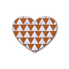 Triangle2 White Marble & Rusted Metal Rubber Coaster (heart)