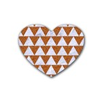 TRIANGLE2 WHITE MARBLE & RUSTED METAL Rubber Coaster (Heart)  Front